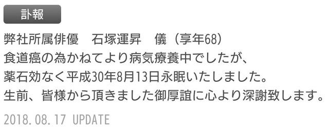 石塚運昇訃報